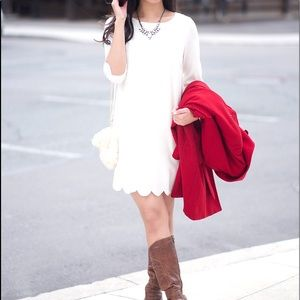Tobi Sweetly Scalloped Mini Dress
